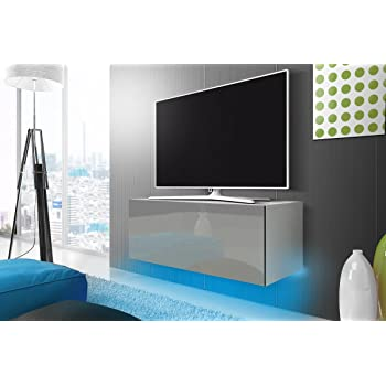 Lana meuble tv suspendu table basse tv banc tv de salon 100 cm blanc mat gris brillant - Salon meuble tv ...