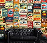 WALPLUS Sticker Mural Vintage Plaque en métal Amovible Stickers muraux Collage, Multicolore, 300 x 280 cm, Lot de 2
