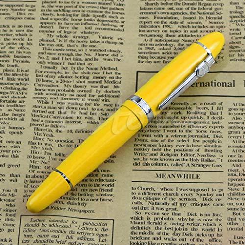 Kathope Deluxe Steel Jinhao 159 Silber Trim Medium Nib Glatt Füllfederhalter Geschenk Gelb Gold Trim