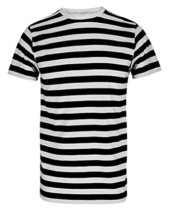 MEN'S BOYS RED & WHITE STRIPED STRIPE T-SHIRT BLUE BLACK STRIPE ...