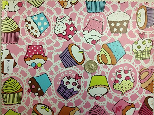 Cupcake Lace Pink Vinyl PVC Tablecloth Easy Wipe Clean VARIETY PRINTS Patio Oilcloth 140cm Wide and 1/2 Half Metre of Length (Blue Vinyl Tischdecke Navy)