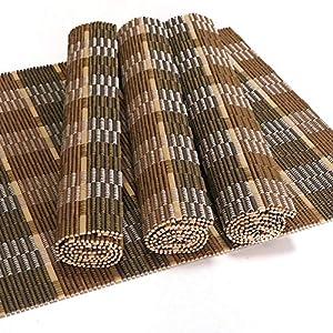 4er Set Bambus Tischsets, Platzsets, Handgefertigt Platzdeckchen, umweltfreundlich für Dekoration und Schutz, 40x30cm, natürliche/graue Farbmischung