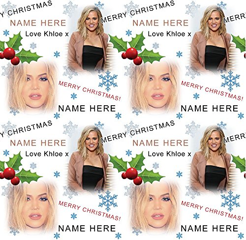 Khloe Kardashian Personalised Christmas Gift Wrap With 2 Tags - ADD A NAME!