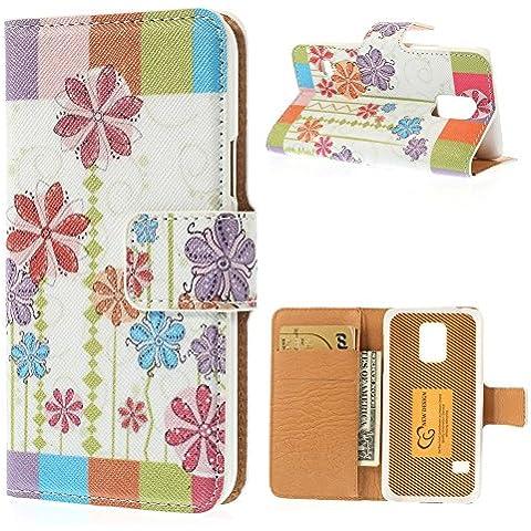 delightable24 Cover Protettiva Bookstyle Flip Case per SAMSUNG GALAXY S5 MINI Smartphone - Fresh Flowers Edition