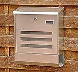 nanook Briefkasten Wandbriefkasten Edelstahl gebürstet rostfrei mit Zeitungsfach und Namensschild