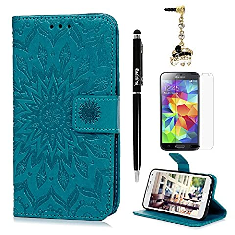 For Samsung Galaxy S5 Case - Badalink Wallet Flip Stand Case Embossed Sunflower PU Leather Case Shockproof Soft TPU Bumper Slim Protective Card Slots Hand Strap Cover for Samsung Galaxy S5-