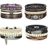 sailimue Schmuck 16 Stück Armbänder Leder Herren Damen Armbänder Holz Perlen Elastisch Armbänder Unisex Set