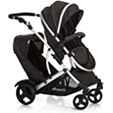 Hauck Duett 2 Tandem Double Pushchair up to 36 kg with Reversible Seat Convertible to Carrycot from Birth, 2 Raincovers, Footmuff, Extendable Hood, Height-Adjustable Push Handle - Black Forest
