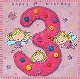 Twizler Karte zum 3. Geburtstag für Mädchen, mit Fee, Prinzessin und Schmetterlingen, ideal für den Kindergeburtstag