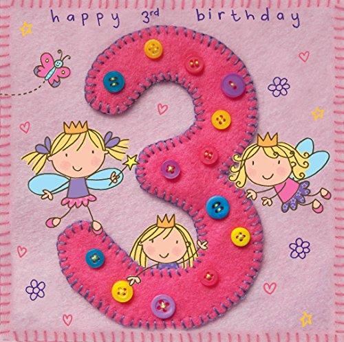 twizler 3. Geburtstag für Mädchen mit Fee Prinzessin und Schmetterling–Drei Jahre–Alter 3–Kinder Geburtstag–Mädchen Geburtstag Karte–Happy Birthday Karte (Happy Birthday Karten Für Mädchen)