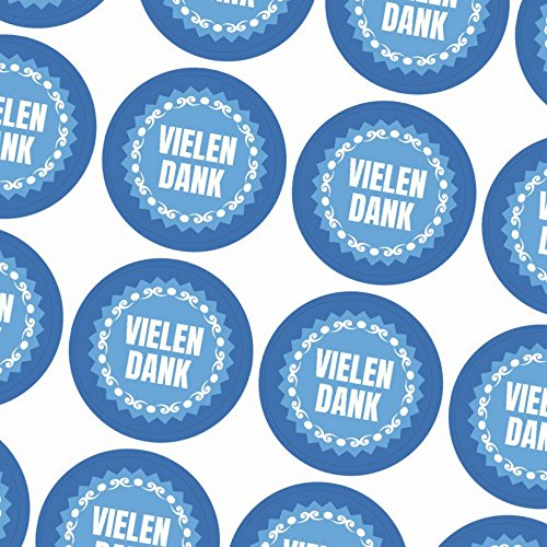 48 Sticker - Schöne blaue Vielen Dank Etiketten Aufkleber für Marmeladengläser, Flaschen, Beschriftungen, Dekoration, Geschenke