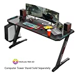 EUREKA ERGONOMIC Z60 Gaming Desk 60'' Z Shaped Large PC Computer Gaming Desks Tables with RGB LED Lights Controller Stand...