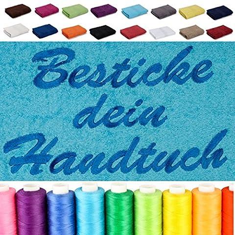 Besticken Sie mit Namen Saunatuch XXL / Saunalaken / Strandtuch / Badetuch 100x200 cm oder mit Wunschtext bestickt, in Farbe: Sand