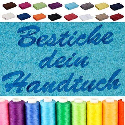 Besticken Sie Handtuch mit Namen oder mit Wunschtext bestickt , Handtuch (50x100cm) in Schokobraun (Handtücher In Schokobraun)