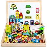 Lance Home Puzzles Magnéticos Tablero de Dibujo de Doble Cara de Madera Juegos de Aprendizaje Educativo para Niños 3 4 Años de Edad