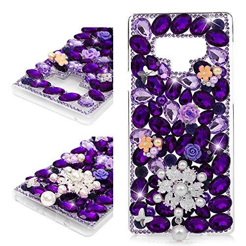 Mavis's Diary Schutzhülle für Samsung Galaxy Note 9, 3D-Design, handgefertigt, luxuriös, glitzernd, Strasssteine, Perlen, Strasssteine, transparent, Hartplastik, Pearl Flower
