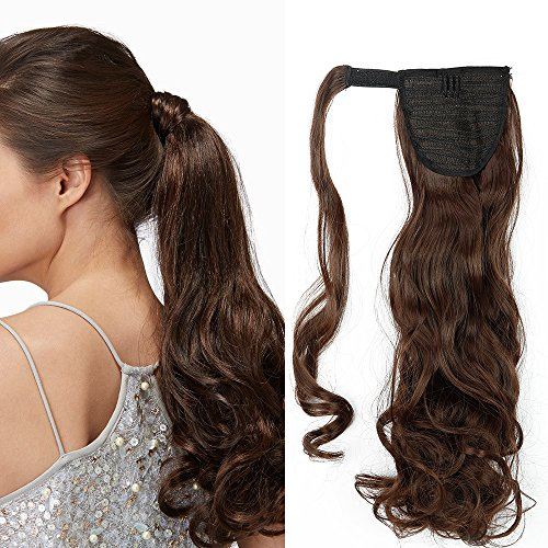 "17""(43cm) Coleta Postiza de Pelo Sintético Rizado con Clips Extensiones de Cabello Invisible y Natural Ponytail Hair Extension (90g,Castaño Chocolate)"