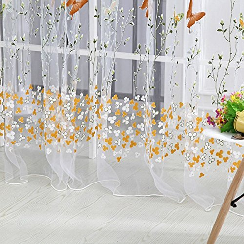 Generic Colorful Buttefly Tulle Voile Door Window Curtain Drape Sheer...