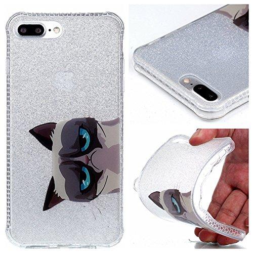 iPhone 8 Plus Coque, Voguecase TPU avec Absorption de Choc, Etui Silicone Souple Transparent, Légère / Ajustement Parfait Coque Shell Housse Cover pour Apple iPhone 8 Plus 5.5 (Fleurs de prunier 14)+  Yeux bleu 03