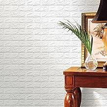 Pared de Etiqueta, RETUROM Papel pintado de la espuma 3D de la manera papel pintado realista de la pared del ladrillo(blanco)