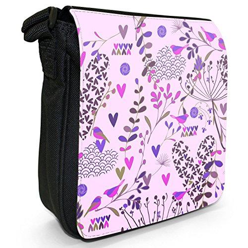 Paradiesgärten Kleine Schultertasche aus schwarzem Canvas Paradiesgärten Violett
