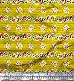 Soimoi Gelb Baumwoll-Popeline Stoff Streifen, Blättern