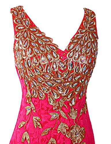 Dresstells, Robe de soirée Robe de cérémonie forme sirène/trompette dentelle tulle col en V avec Emperler Lavande