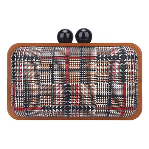Bonjanvye Clutch Purses for Women Wood Frame Clutches and Evening Bags Red