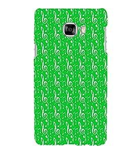 HiFi Designer Phone Back Case Cover Samsung Galaxy C7 SM-C7000 ( Music Green Pattern Design )
