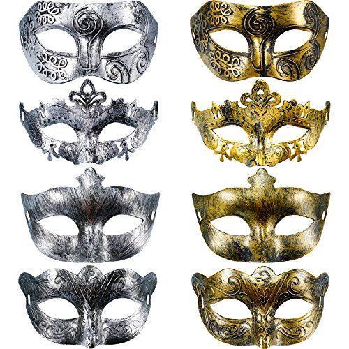 Hestya 8 Stück Vintage Antiquität Masken Maskerade Karneval Maske(Gold Silber)
