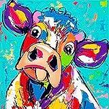 Riou DIY 5D Diamant Painting voll,Stickerei Malerei Crystal Strass Stickerei Bilder Kunst Handwerk für Home Wand Decor gemälde Kreuzstich Tier-Serie Cartoon Kuh Bild Muster (Mehrfarbig B, 30 * 30cm)