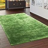 Paco Home Teppich Handgefertigt Hochwertig 100% Viskose Vintage Aufällig Meliert In Grün, Grösse:120x170 cm
