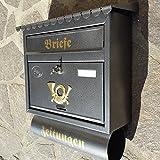 Großer Briefkasten / Postkasten XXL Silber / Silbergrau mit Zeitungsrolle Flachdach Katalogeinwurf Zeitungsfach