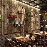 SQBZ Retro Nostalgie 3D Holzfarbe Nachahmung Holzmaserung Tapete Shop Holz Bekleidungsgeschäft Café Frisörladen Tapete Tapete, braunes Korn, Tapete nur