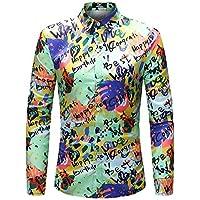 WULIFANG Camisas De Hombres Flor Grande Suave Imprimir Manga Larga Camiseta Slim Casual De Negocios De Casual De Hombres Camiseta Hawaiana Verde M