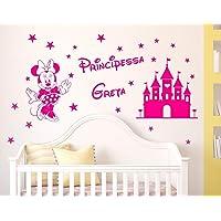 Adesivi Murali Bambini Nome personalizzato Minnie e castello magico con stelline Principessa Adesivo Nome Wall Stickers…
