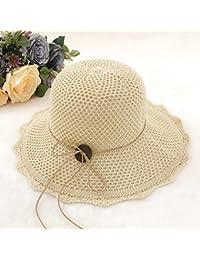 HSRG Hats Sombrero De Cuenca De Hilo De Algodón Mujer De Primavera Y Verano  Gorro De Playa Visor Plegable Sombrero De Punto… e7c6f0e97d5