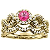 14ct oro amarillo Natural color topacio Redondo anillo de compromiso con Halo 5 mm Diamond 2 piezas Acentos, Tamaños J - T
