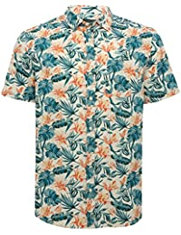 M&Co Mens Short Sleeve 100% Cotton Tropical Leaf Floral Print Button up Collar Casual Shirt