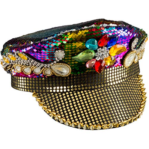 NET TOYS Retro Schirmmütze für Damen mit Pailletten | Bunt | Glitzernde Frauen-Mütze 80er-Jahre-Look | EIN Highlight für Mottoparty & Karneval