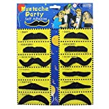 Pack of 12 Adhesive Assorted Black Moustaches Fancy Dress Costume Accessory