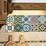 Extsud Adesivi per Piastrelle Wall Stickers da Mattonelle Parete in PVC Impermeabile Autoadesivo Decorazione per Cucina Bagno Fai da Te (Mediterraneo 15x 15cm)
