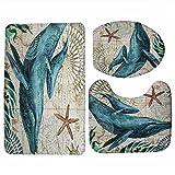 HONGYUANZHANG 3 STK Wc Sitz Wc Set Sea Turtle Gedruckt Badezimmer Teppich Matte Waschbar Für Washingroom, Wal