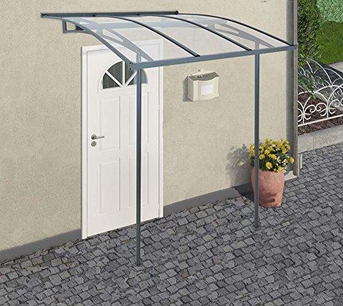 Palram Vordach, Regenschutz, Überdachung Vega 2000 klar inkl. Regenrinne // 200x200 cm // Pultvordachung und Balkondach