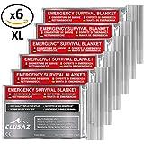 CLUSAZ Manta de emergencia XL 210x160cm (paquete de 6) Retiene hasta el 90% del calor, Impermeable, Perfecto para Esquí, Maratón, Senderismo, Campamento, Primeros Auxilios, Seguridad vial - GARANTÍA