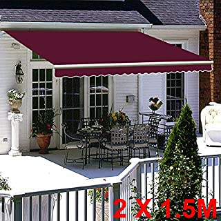 Greenbay Wine Red DIY Manual Patio Awning, Retractable Gazebo Outdoor Canopy, Garden Sun Shade - 2m x 1.5m