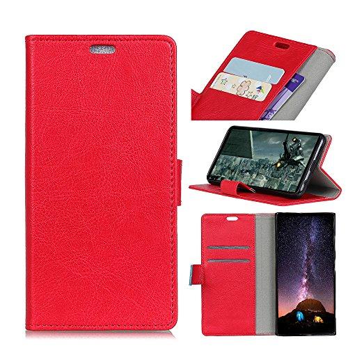 FAMOBIE Für Wileyfox Spark X Hülle Handyhülle [Standfunktion] [Kartenfach] [Magnet] [Anti-Rutsch] PU-Leder Schutzhülle Brieftasche Handyhülle rot