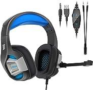 Cuffie Gaming PS4 PC Antirumore Over Ear con Microfono Xbox One 7.1 Bass Stereo Suono Surround virtuale 3.5mm Jack Regolabile