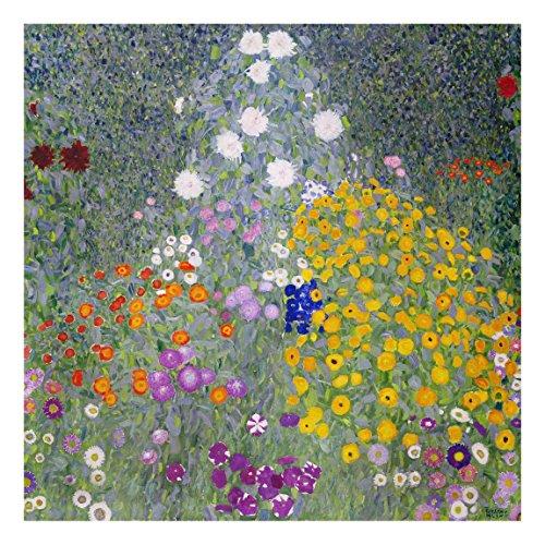 Glasbild - Kunstdruck Gustav Klimt - Bauerngarten - Jugendstil Quadrat 1:1, Größe HxB: 50cm x 50cm