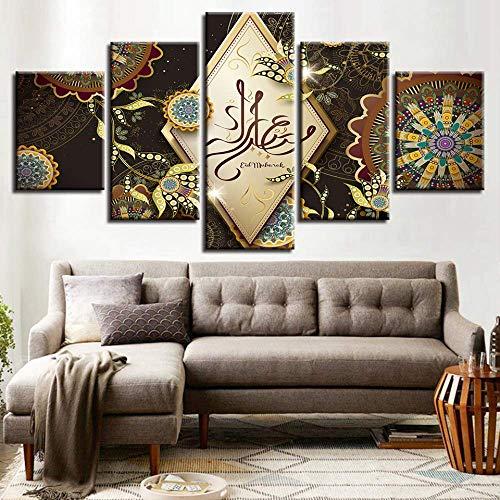 DGGDVP Wandkunst 5 Stücke Islam Allah Der Koran Malerei HD Print Modulare Muslimische Blumen Bilder Wohnzimmer Dekor Leinwand Poster größe 1 Rahmen